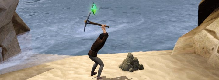 A Blacksmith Mining a Rich Ore Deposit in The Sims Medieval